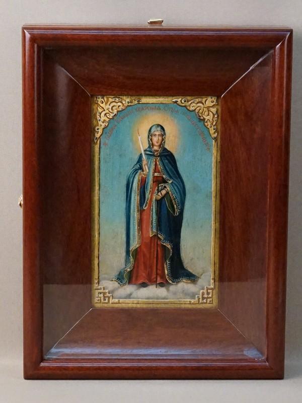 Икона в киоте «Пресвятая Богородица Свеча Неугасимая», дерево, масло, золочение, XIX век, 20 × 12см