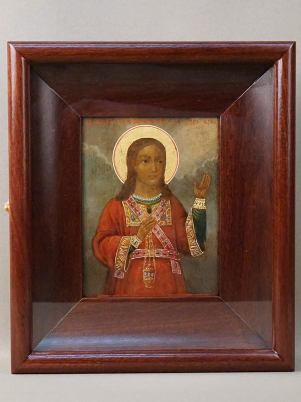 Икона  в киоте «Святой Апостол Филипп», дерево, масло, золочение, XIX век, 15,5 × 12см
