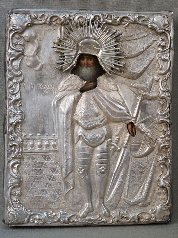Икона в киоте «Святой Равноапостольный Князь Владимир», дерево, масло; оклад серебро 84 пробы, 1853 год, 18 × 14,5см, XIX век