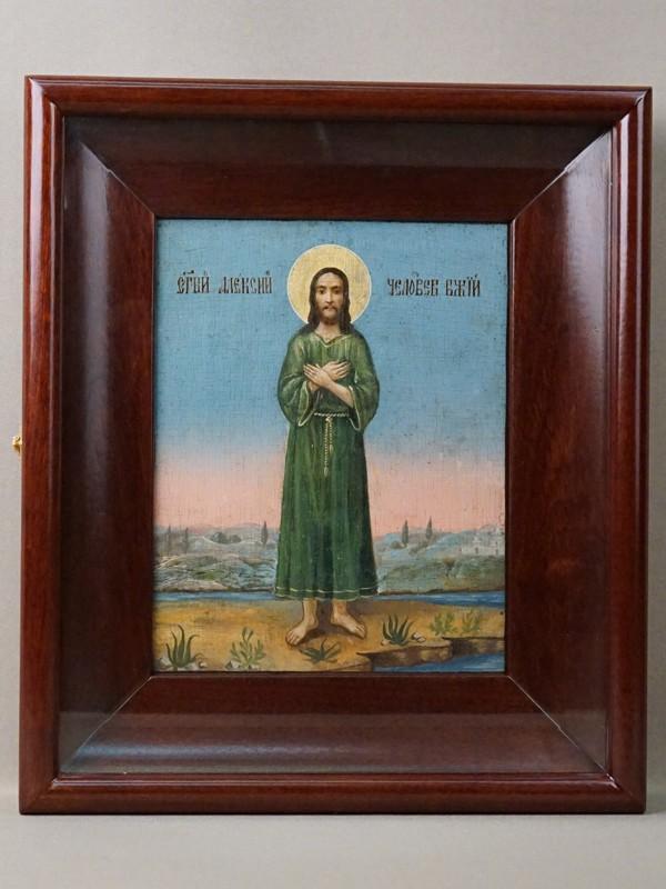 Икона  в киоте «Святой Алексий Человек Божий», дерево, масло, золочение, XIX век, 21,5 × 17см