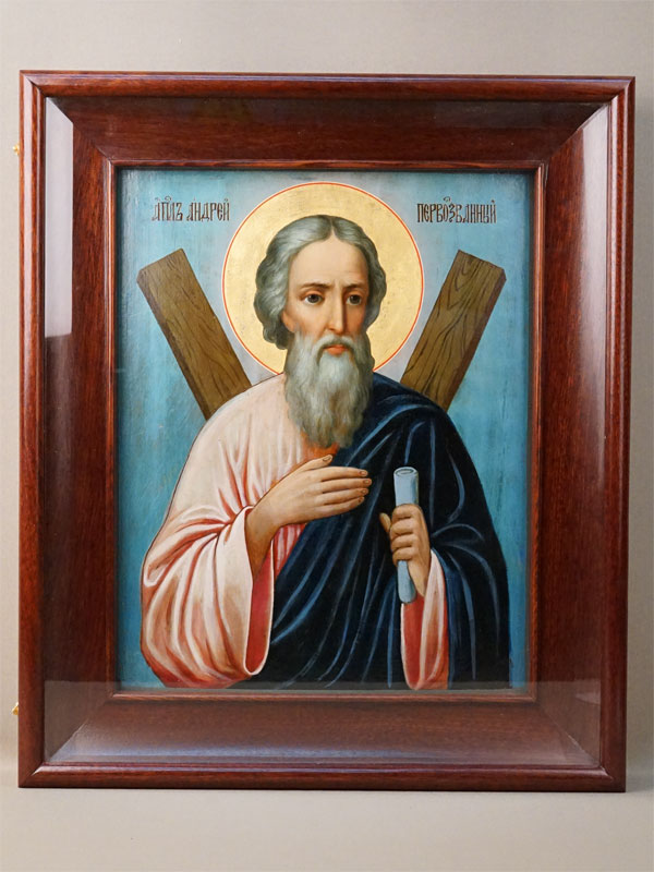 Икона в киоте «Святой Андрей Первозванный», дерево, масло, сусальное золото, XIX век, 35,5 × 28,5см
