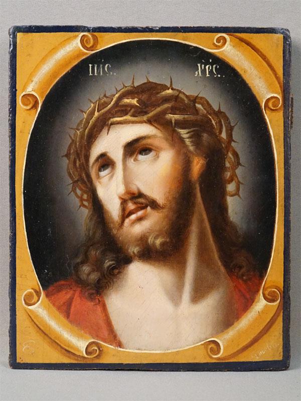 Икона  в киоте «Спаситель в Терновом Венце», дерево, масло, золочение, авторская подпись, конец XIX — начало XX века, 22,5 × 18,5см