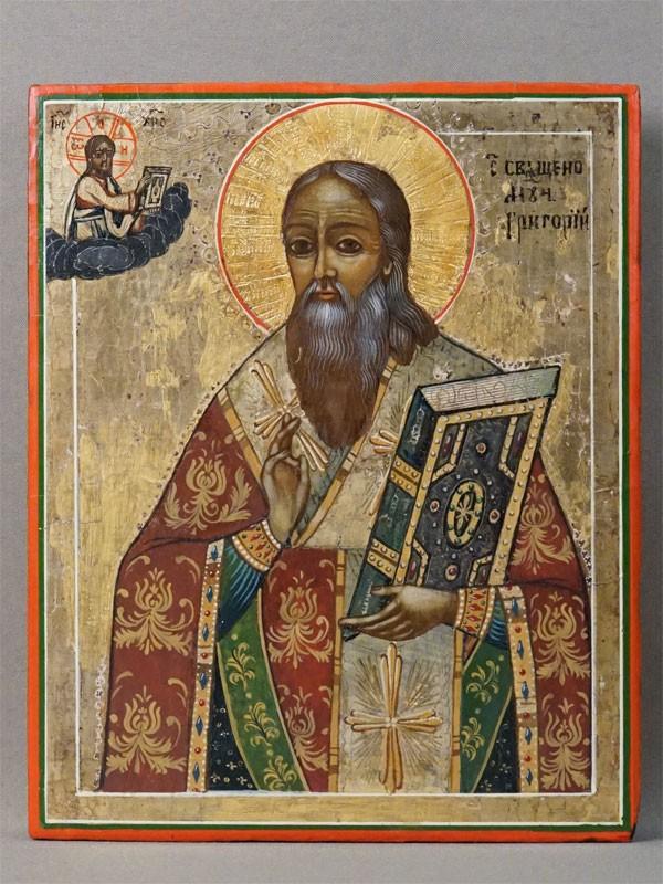 Икона в киоте «Святой Священномученик Григорий», дерево, масло, золочение, XIX век, 22 × 18см