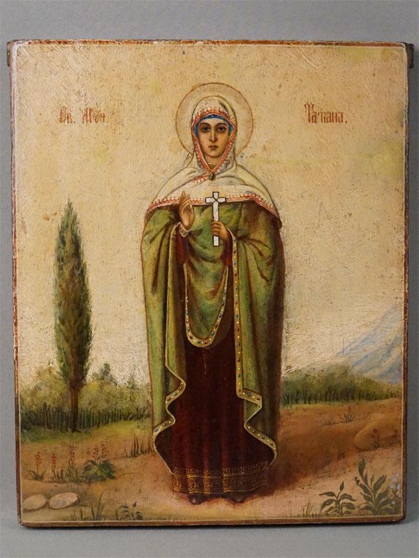 Икона  в киоте «Святая Мученица Татиана», дерево, масло, золочение, XIX век, 31 × 26,5см