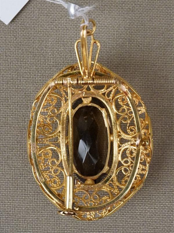 Брошь-подвеска, золото 583 пробы, раухтопаз (кварц), общий вес 13,12г.