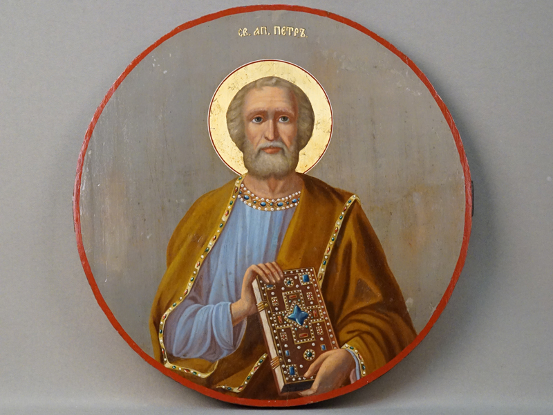 Икона в киоте «Святой Апостол Петр», дерево, масло, золочение, конец XIX века, диаметр 34,5см