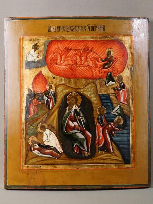 Икона «Огненное Восхождение Святого Пророка Илии», дерево, левкас, темпера, сусальное и твореное серебро и золото. Поволжье, XIX век, 35,6 × 31,6см