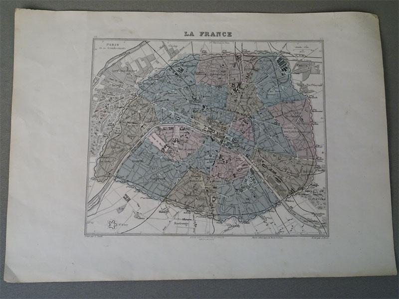 План Парижа. / Paris en 20 Arrondissements. Grave par L. Smith. Ecrit par A. Bizet/. Dresse sous la Direction de J. Migeonpar Ch. Lacoste.[ 1860], 39 × 28 см