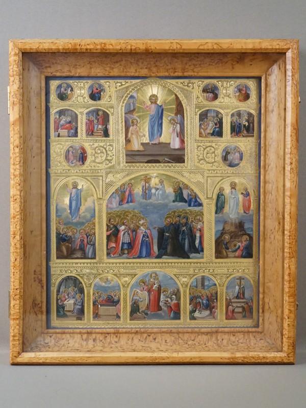 Икона в киоте «Праздники», дерево, левкас, темпера, золочение, XIX век, 34,5 × 29,5см