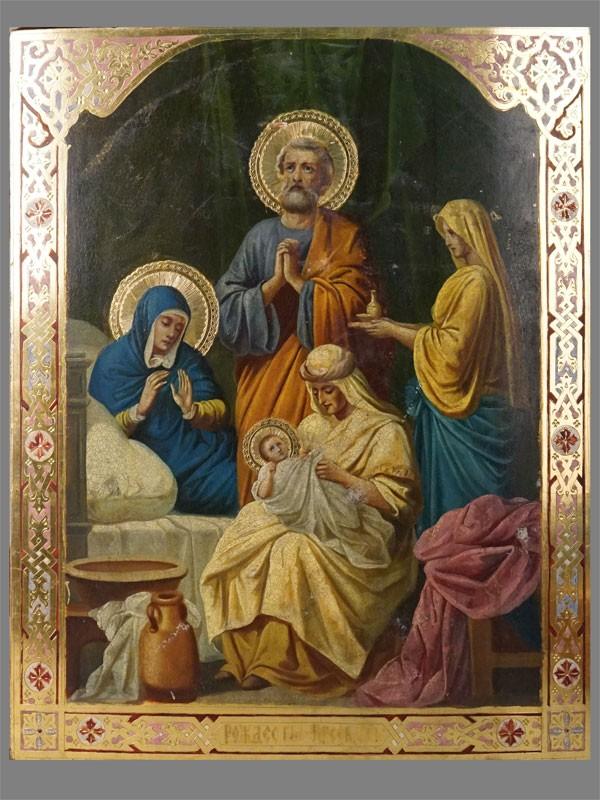 Икона «Рождество Пресвятой Богородицы», дерево, смешанная техника. Золочение, холодные эмали, конец XIX  — начало XX века, 43,7 × 35,5см