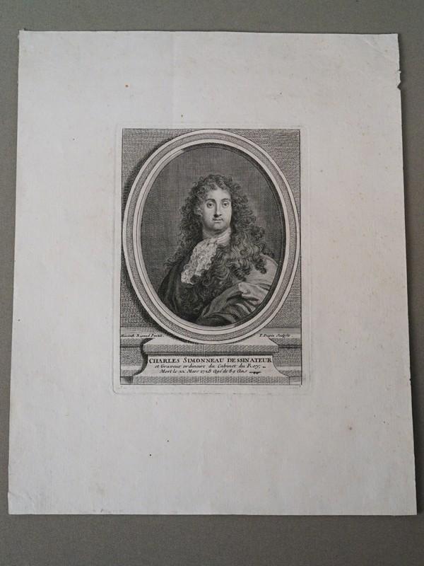 Шарль-Луи Симоно. французский рисовальщик и гравер. Gravé par Pierre Dupin d'après Hyacinthe Rigaud, 1741. Оттиск 13 × 10см.