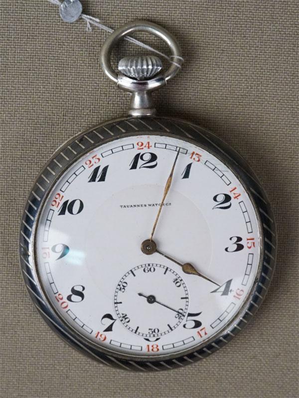 Часы карманные Tavannes Watch, серебро 800 пробы, диаметр 5,2см