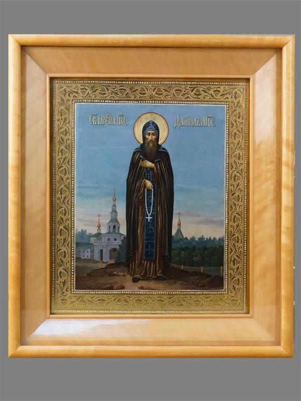 Икона в киоте «Святой князь Даниил Московский», дерево, смешанная техника, золочение, начало XX века (после 1903 года), 31 × 26,3см. Атрибуция.