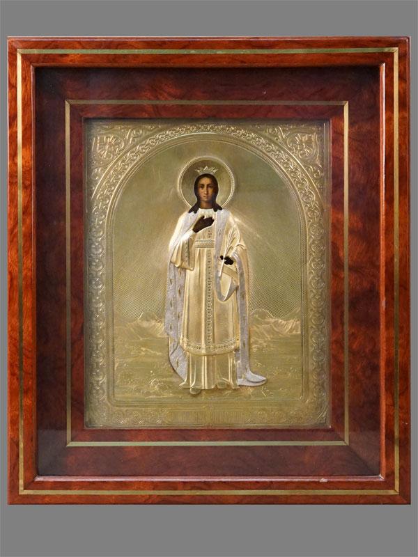 Икона в киоте «Святая Великомученица Екатерина», дерево, левкас, темпера, 22,5 × 17,8см. Оклад серебро 84 пробы, золочение, Москва, 1885 год