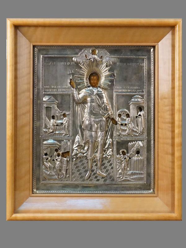 Икона в киоте «Святой Иоанн Воин», дерево, левкас, темпера, золочение, Палех, начало XIX века, 30,5 × 25см. Оклад серебро 84 пробы, Москва, 1820 год, мастер «КД»
