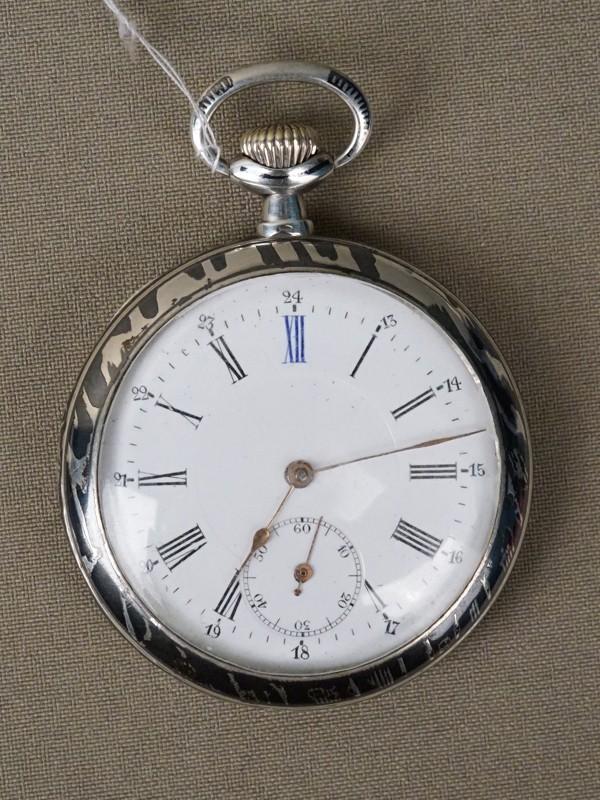 Часы карманные, серебро по реактиву, чернь, диаметр 5см