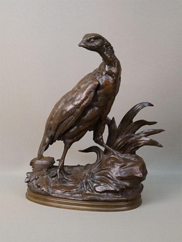 Скульптура «Куропатка», бронза, литье, патинирование. Франция, XIX век, автор Муанье, высота 31,5см