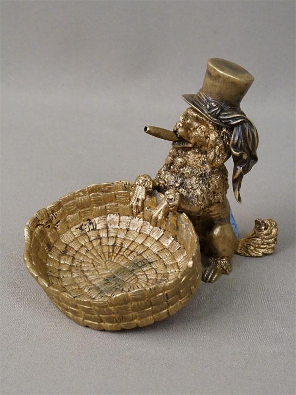 Пепельница «Пудель с сигарой в шляпе», бронза, высота 10см, начало XX века
