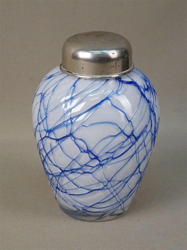 Чайница, стекло, металл, высота 12,5см, первая половина XX века (утрачена внутренняя крышка)