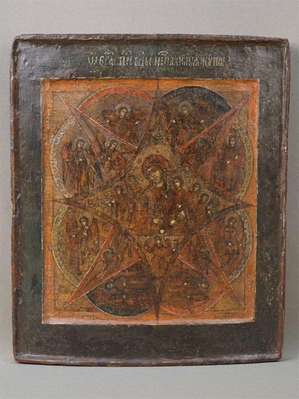 Икона «Пресвятая Богородица Неопалимая Купина», дерево, левкас, темпера, XVIII век, 31,2 × 25,8см (реставрация)