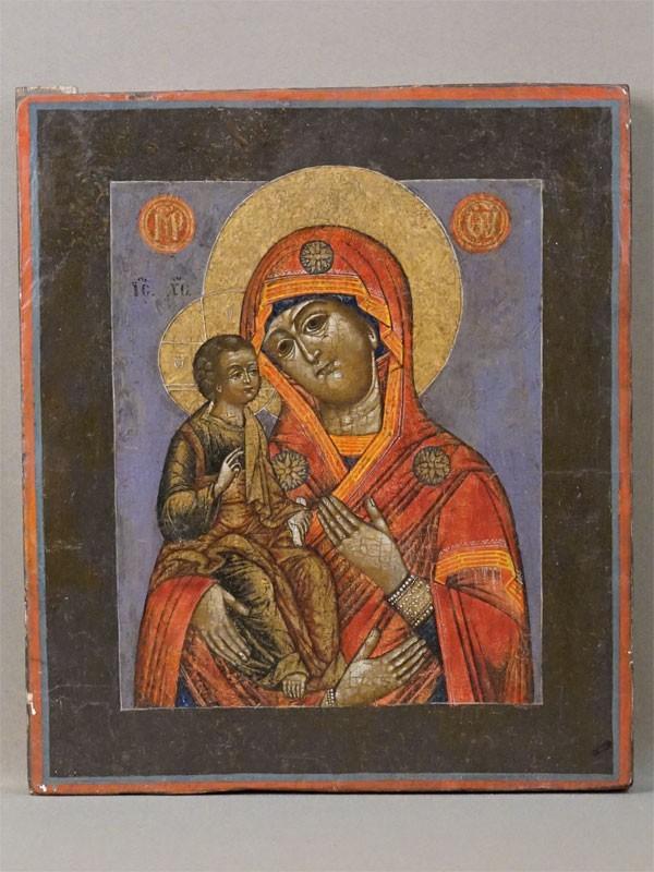 Икона «Пресвятая Богородица Троеручица», дерево, левкас, темпера, XIX век, 30,6 × 26,4см (реставрация)