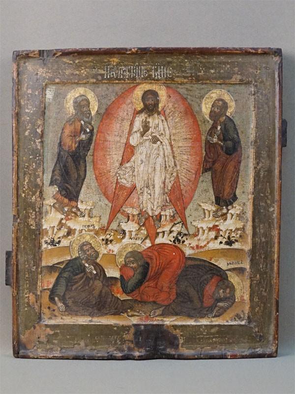 Икона «Преображение Господне», дерево, левкас, темпера, золочение. Кострома, XVII век, 31,3 × 27,4см (реставрация)