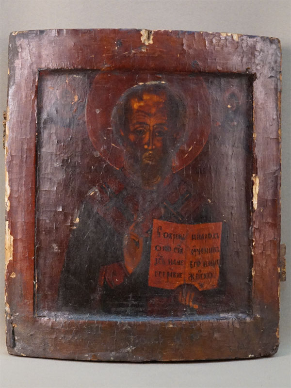 Икона «Святой Николай Чудотворец», дерево, левкас, темпера; оклад латунь, XIX век, 31 × 27см
