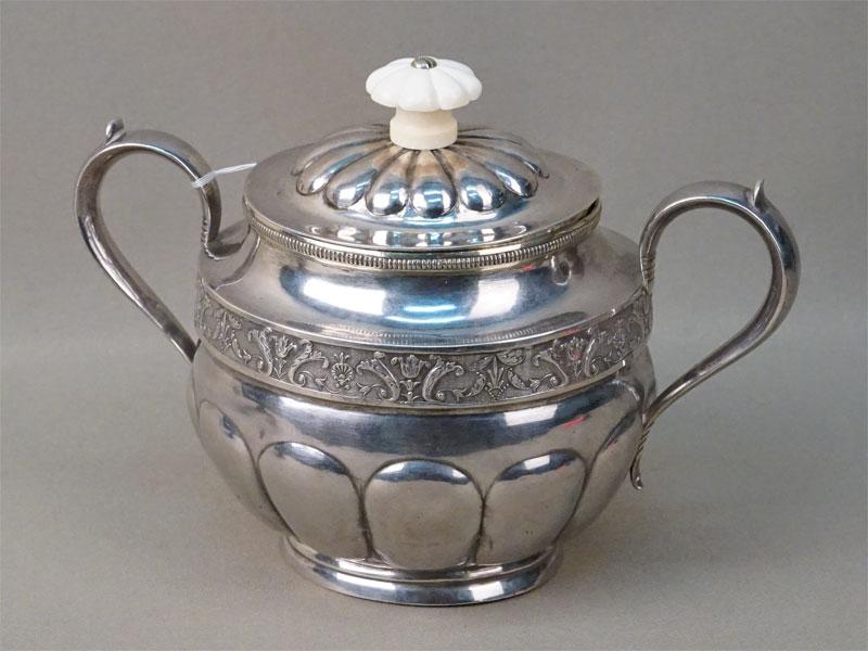 Сахарница, серебро 84 пробы, кость, общий вес 439,56г. Санкт-Петербург, середина XIX века