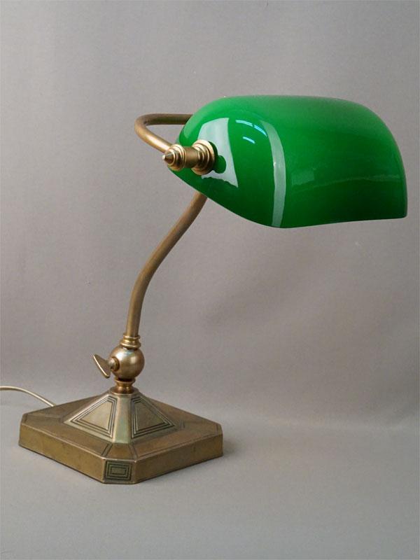 Лампа настольная «Банкирка», латунь, зеленое стекло, 1 световая точка, 40 × 31см