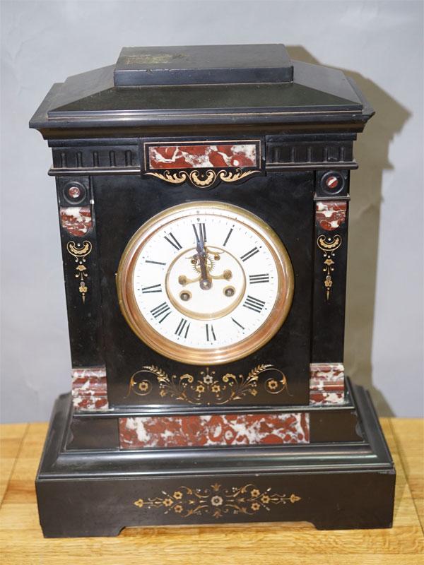 Часы каминные, мрамор, конец XIX века, Западная Европа, 49 × 39 × 18см