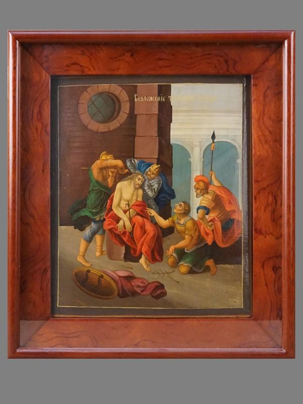 Икона в киоте «Возложение тернового венца на Спасителя», дерево, масло, XIX век, 31,5 × 26см