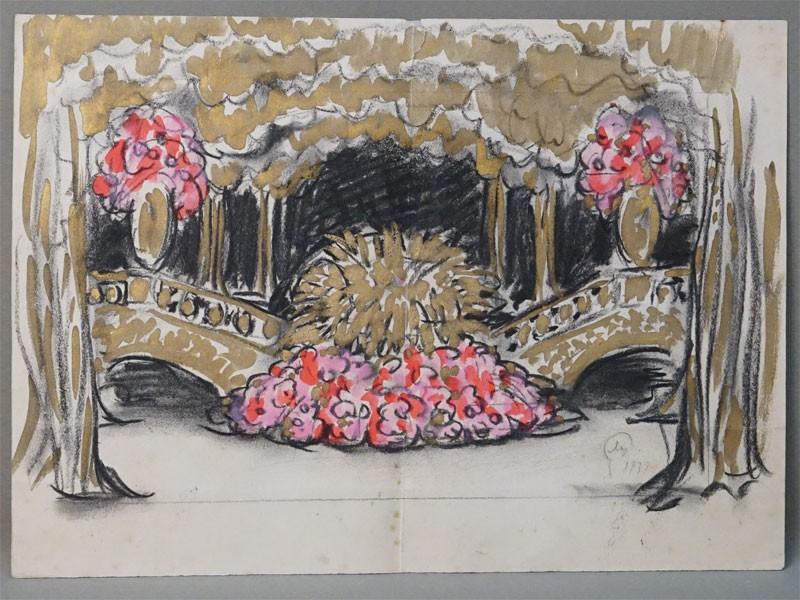 Добужинский М.В. (1875-1975), «Театральный эскиз», бумага, угольный карандаш, акварель, белила, бронза, 1939 год, 31,6 × 43,8см. На обороте набросок графитным карандашом. Атрибуция.