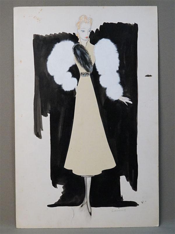 Анненков Ю.П. (1889 – 1974), «Рене в вечернем туалете. Эскиз костюма для кинофильма «Lumieres de Paris», бумага, графитный карандаш, тушь, перо, гуашь, 1938 год, 49,9 × 32,7см. Атрибуция.