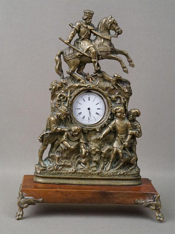 Подчасник «Охота» (бронза, дерево) с карманными часами (серебро по реактиву, ключ), конец XIX века, высота 20см