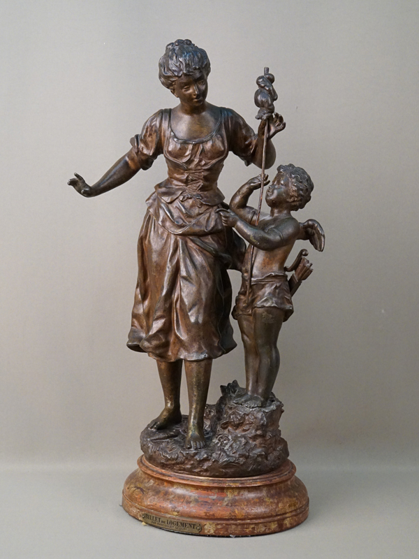Скульптура «Амур с письмом и девушка с прялкой», шпиатр. Франция, конец XIX века, высота 48,5см