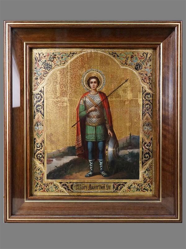 Икона в киоте «Святой Димитрий Солунский», дерево, масло, золочение, холодные эмали, конец XIX века, 33 × 29см