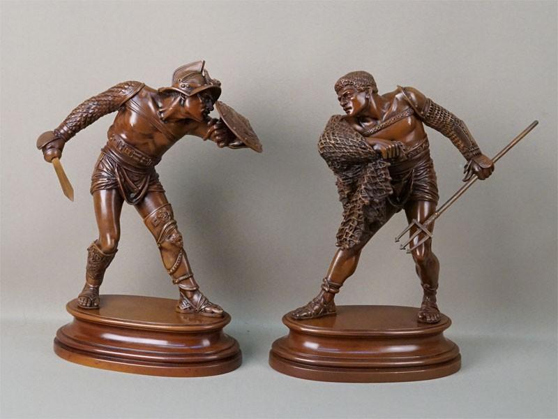 Пара скульптур «Поединок гладиаторов», бронза, литье, патинирование, высота 32см, конец XIX века