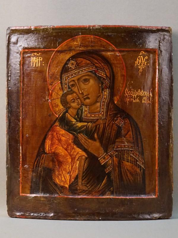 Икона «Пресвятая Богородица Федоровская», дерево, левкс, темпера, золочение, 31 × 26см, XVIII век