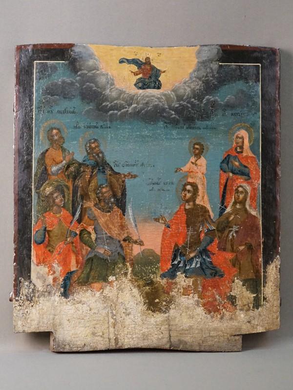 Икона «Избранные Святые в предстоянии Господу Вседержителю», дерево, левкас, темпера. Великий Устюг, XVIII век, 41 × 35см