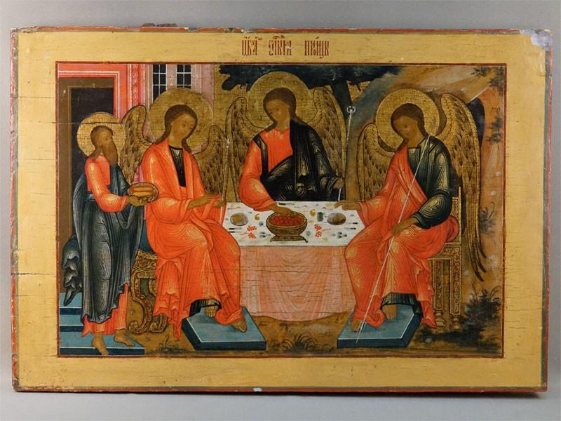 Икона «Святая Троица», дерево, левкас, темпера, масло, серебрение, золочение. Кострома, конец XVIII века, 47,9 × 70,8см. Атрибуция.