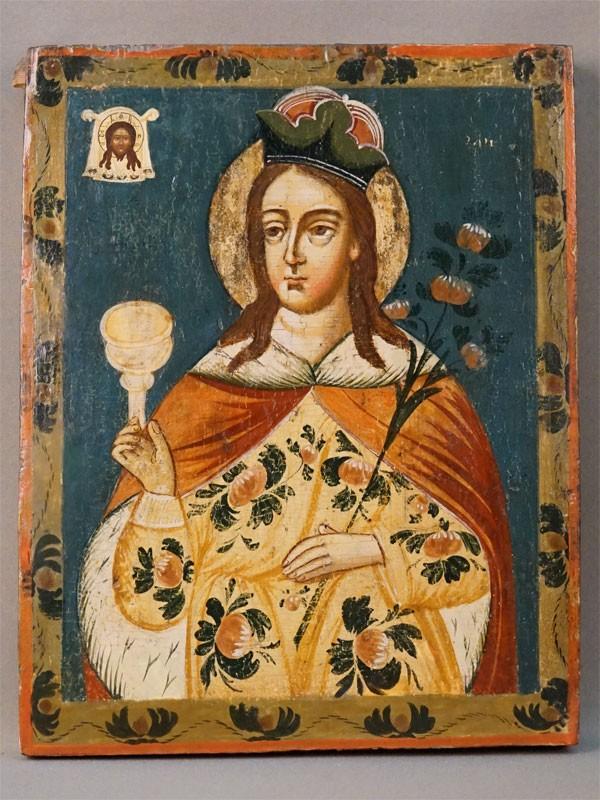Икона «Святая Великомученица Варвара», дерево, левкас, темпера, золочение, XIX век, 32,5 × 25,5см. Икона была представлена на выставке «Народная Икона» в 2012 году в Российской академии художеств.
