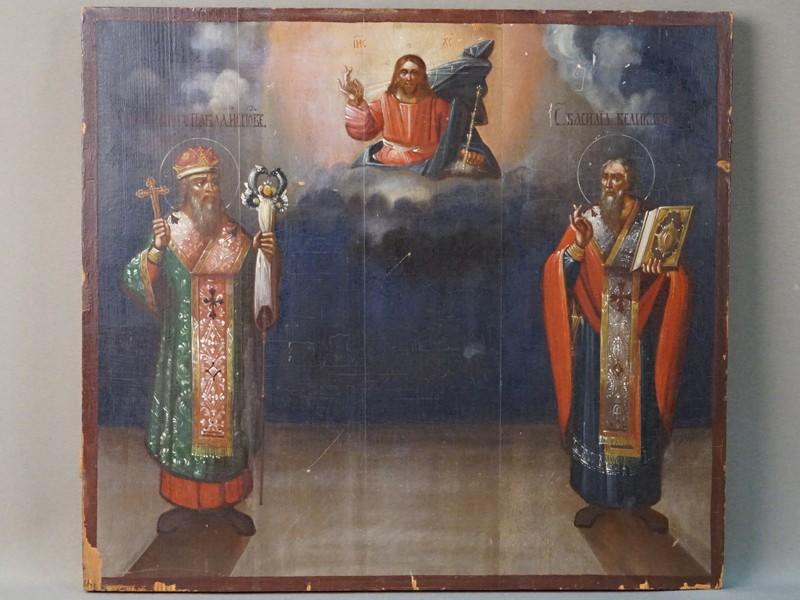 Икона «Святые Павел Исповедник и Василий Великий в предстоянии Господу», дерево, масло, XIX век, 38 × 42см