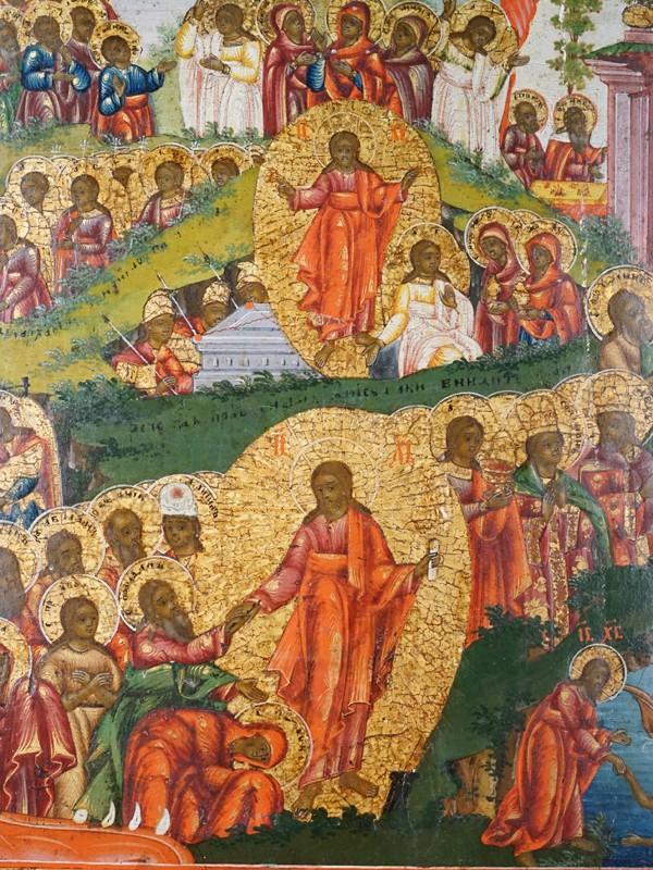 Икона «Воскресение Христово с Саваофом и уготовленным Престолом», дерево, левкас, темпера, золочение, XIX век, 70 × 59,5см