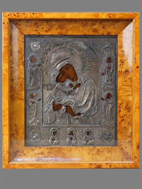 Икона в киоте «Пресвятая Богородица Почаевская», дерево, оклад серебро 84 пробы, 27 × 22см, конец XIX века