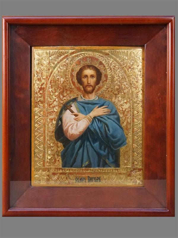 Икона в киоте «Святой Мученик Виктор», дерево, масло, золочение, 27 × 22см, конец XIX века