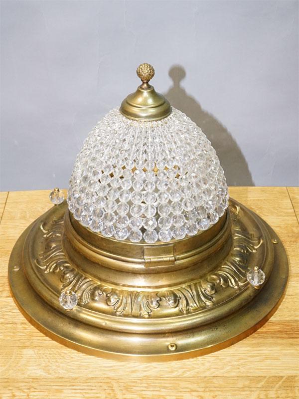 Светильник потолочный в стиле историзм, латунь, хрусталь, 1 световая точка (стандартный патрон Е-27), 32 × 40см