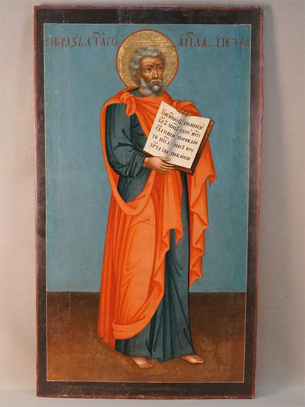 Икона «Святой Апостол Петр», дерево, левкас, темпера, золочение. Кострома (Русский Север?), XVIII век, 95 × 40см
