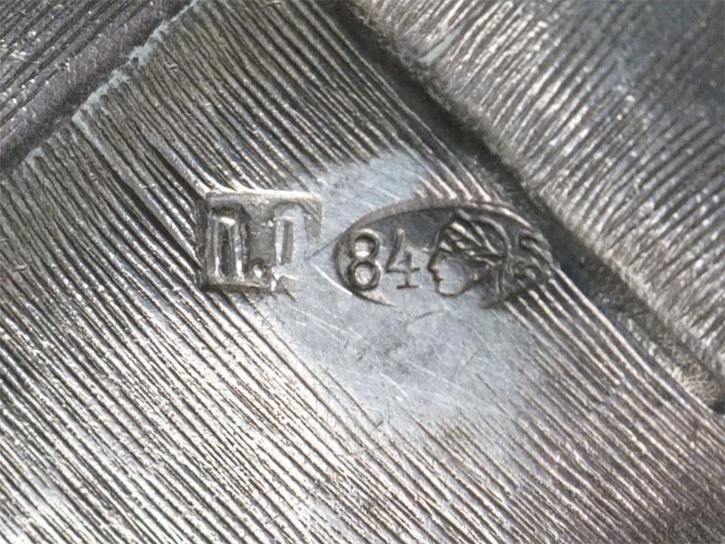 Сахарница-конфетница в русском стиле «Берестяное лукошко», серебро 84 пробы, золочение, общий вес 220г., диаметр 11,5см