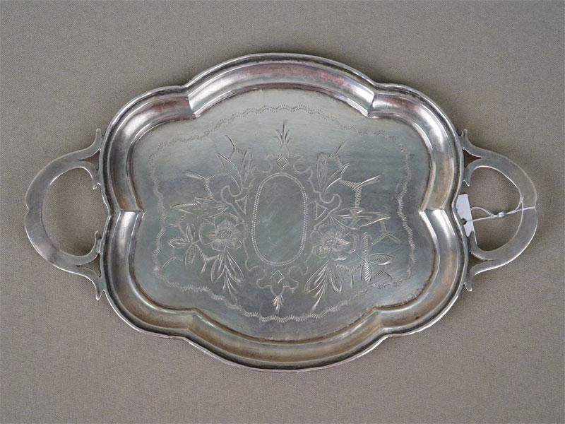Поднос, серебро 84 пробы, гравировка, общий вес 164,2г., длина 24см