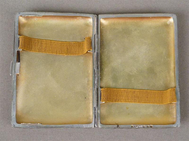 Портсигар, серебро 800 пробы, общий вес 81,38г., 8 × 6см